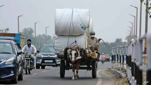 A man wearing a mask rides a horse cart delivering goods in Jammu, India.