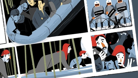 Comic book illustrations of a Syrian refugee family trying to cross from Turkey into Greece.