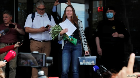 Russian journalist Svetlana Prokopyeva leaves after a court hearing in Pskov, Russia July 6, 2020. A Russian court pronounced…