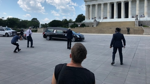 The hearse containing the late Congressman John R. Lewis pauses at the Lincoln Memorial in Washington, D.C., where he and Rev. Martin Luther King, Jr., spoke to the nation in 1963.