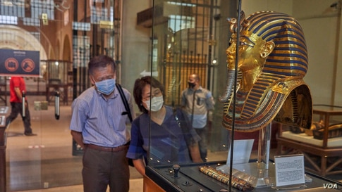 After 100 days of closure, the Egyptian Museum in Cairo re-opens to visitors, July 1, 2020.