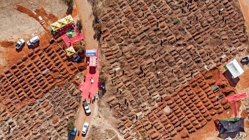 This aerial picture shows several funerals being held at the Olifantsvlei Cemetery in Soweto, South Africa, July 25, 2020.