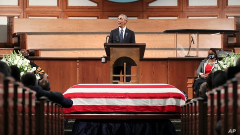 Former President Barack Obama, addresses the service during the funeral for the late Rep. John Lewis, D-Ga., at Ebenezer Baptist Church in Atlanta, Georgia, July 30, 2020.