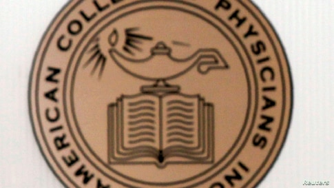 Logo of the American College of Physicians (ACP) at the ACP building in Philadelphia, Pennsylvania.