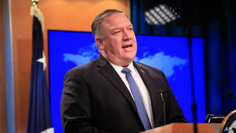 Secretary of State Mike Pompeo speaks during a news conference at the State Department in Washington, Wednesday, Aug. 5, 2020. …