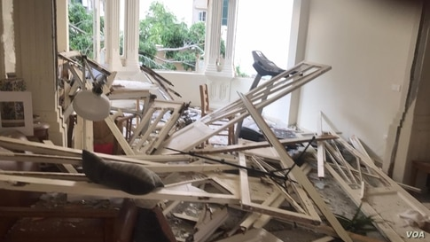 VOA Stringer Anchal Vohra's Beirut apartment was damaged by the explosion, Aug. 4, 2020.