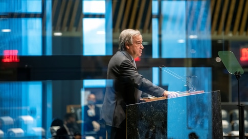 United Nations Secretary General Antonio Guterres speaks during the 75th annual U.N. General Assembly, which is being held…