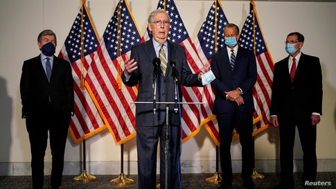 Senate Majority Leader Mitch McConnell (R-KY) speaks to the media after the Republican policy luncheon on Capitol Hill
