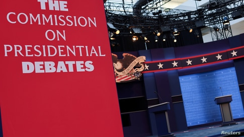 FILE - The stage awaits the first presidential debate between President Donald Trump and Democratic nominee Joe Biden.