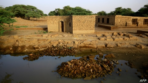 Flood waters stagnate by a structure in the ancient royal city at the archaeological site of Meroe, in the Sudanese al-Bajrawia area in the River Nile State, 200Km north of the capital, Sept. 9, 2020.
