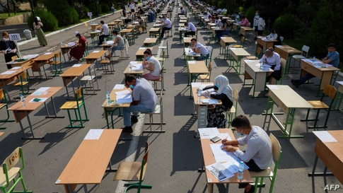 Uzbek students take open-air entrance exams in Tashkent amid the ongoing coronavirus disease pandemic.