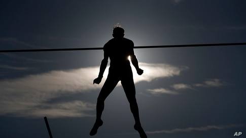 Renaud Lavillenie of France competes in pole vault at the Golden Spike athletic meeting in Ostrava, Czech Republic.