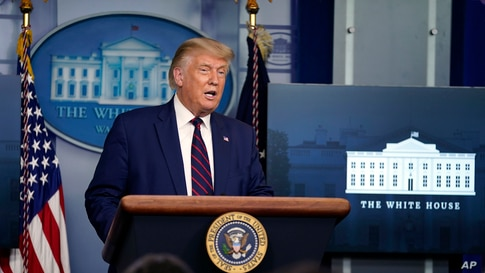 President Donald Trump speaks during a news conference in the James Brady Press Briefing Room at the White House, Sept. 4, 2020, in Washington.