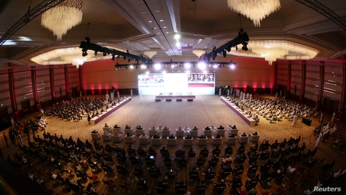 A general view shows talks between the Afghan government and Taliban insurgents in Doha, Qatar, Sept. 12, 2020.