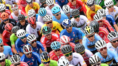 Riders compete in the Men's Elite Road Race, a 258.2-kilometer route around Imola, Emilia-Romagna, Italy, during the UCI 2020 Road World Championships.