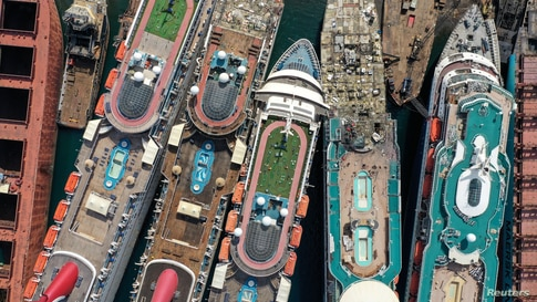 A drone image shows decommissioned cruise ships being dismantled at Aliaga ship-breaking yard in the Aegean port city of Izmir,…
