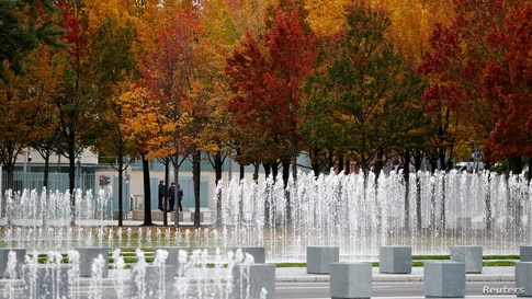 Autumnal trees are pictured near the Chancellery, in Berlin, Germany, October 16, 2020. REUTERS/Fabrizio Bensch     TPX IMAGES…