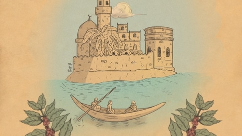 A label design of Yemen's famous coffee bean, Mocha, which is named after the Yemeni port on the Red Sea that was a hub for trade. It is believed the Mocha bean was originally cultivated by Sufi monks in 1450. (Photo courtesy of Waleed al-Ward)