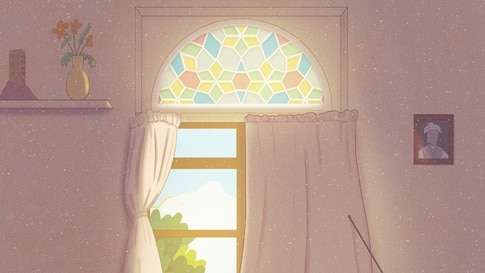 Traditional Qamaria windows like this one made from stained glass are disappearing from Yemeni homes as people turn to more sturdy windows due to the civil war. (Photo courtesy of Waleed al-Ward)