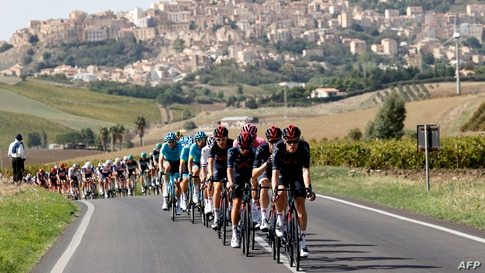 Cyclists rides during the second stage of the 2020 Giro d'Italia, a 149 km route between Alcamo and Agrigento, in Agrigento, Italy.