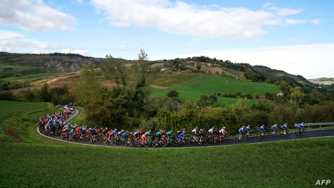 The pack rides during the 12th stage of the Giro d'Italia 2020 cycling race, a 204-kilometer route between Cesenatico and Cesenatico, Italy.