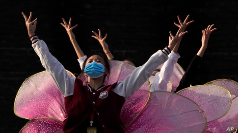 Performers rehearse for a show at the Badaling Great Wall of China on the outskirts of Beijing.