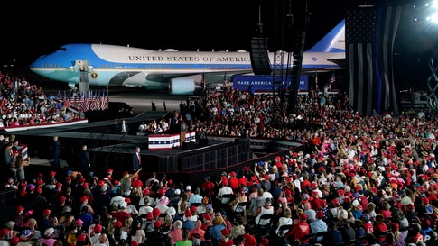 U.S. President Donald Trump speaks during a campaign rally at Orlando Sanford International Airport, Oct. 12, 2020, in Sanford, Florida.