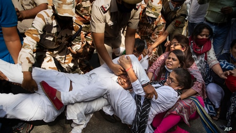 India's opposition Congress party supporters protesting against gang rape and killing of a woman in Uttar Pradesh's Hathras district hold onto each other as policemen try to detain them in New Delhi.