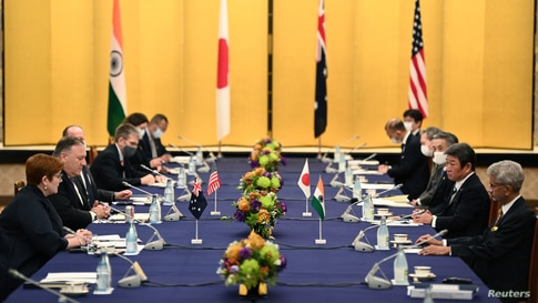 Australia's Foreign Minister Marise Payne, U.S. Secretary of State Mike Pompeo, Japan's Foreign Minister Toshimitsu Motegi and Indian Foreign Minister Subrahmanyam Jaishankar attend the Quad meeting  in Tokyo, Japan, Oct. 6, 2020.