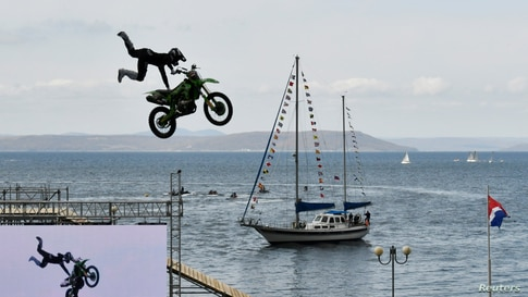 "A participant performs during the motorbike and water sports festival ""Vladivostok-2020"" in Vladivostok, Russia."