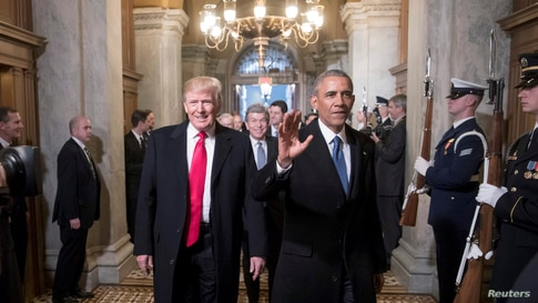 President-elect Donald Trump, left, and President Barack Obama arrive for Trump's inauguration ceremony.