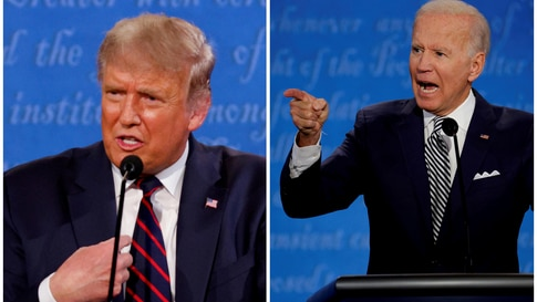 FILE PHOTO: A combination picture shows U.S. President Donald Trump and Democratic presidential nominee Joe Biden speaking…