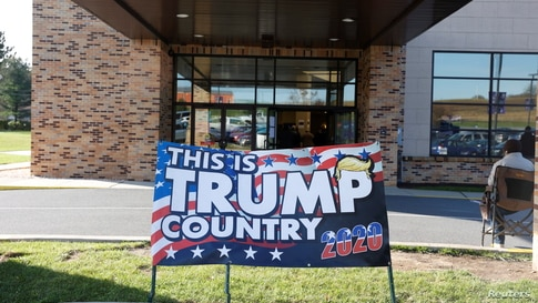 A campaign sign of U.S. President Donald Trump is seen on Election Day in Cherryville, Pennsylvania, Nov. 3, 2020.