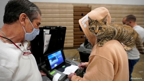 """Barton Foley, 32, with his cat """"Little Ti Ti"""" on his shoulder, casts his ballot on Election Day at Ballard High School."""