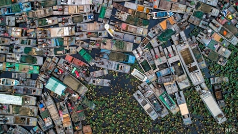 The aerial photo shows fishing boats to be dismantled are seen by Hongze Lake after a fishing ban was imposed in the area to protect resources, in Huaian in eastern China's Jiangsu province, Nov. 3, 2020.