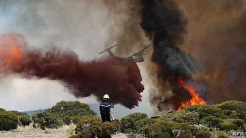 Firefighters extinguish a fire as a water bomber aircraft flies near Saint-Paul, on the French Indian Ocean island of La Reunion, Nov. 8, 2020.