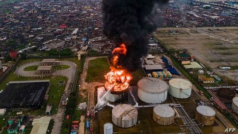 An aerial view shows an oil tanker on fire at the OVH Energy Marketing in Apapa, Lagos, Nigeria.