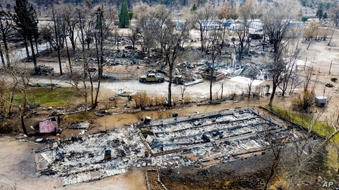 Homes destroyed by the Mountain View Fire are seen in the Walker community in Mono County, California, Nov. 18, 2020.