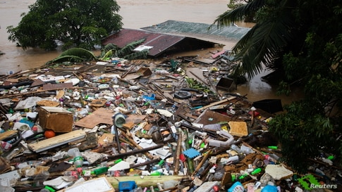 A roof is pictured sumberged in flood following Typhoon Vamco, in San Mateo, Rizal province, Philippines.