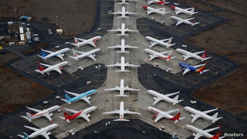 Grounded Boeing 737 MAX aircraft are seen parked at Grant County International Airport in Moses Lake, Washington, U.S. November 17, 2020.  REUTERS/Lindsey Wasson