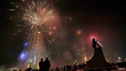 Icelandic people celebrate New Year's Eve and hope for a brighter 2021 as fireworks light up the sky in Reykjavik, Iceland on…
