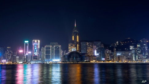 A general view of the Victoria Harbor on the 2021 New Year's Eve in Hong Kong, Dec. 31, 2020.