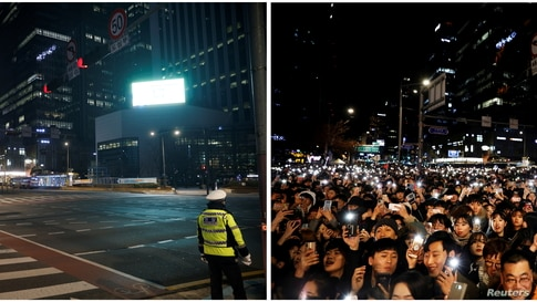 A combination photo shows people celebrating the New Year, Dec. 31, 2019 (R), and a policeman standing on a zebra crossing on New Year's Eve amid the COVID-19 pandemic, in Seoul, South Korea, Dec.31, 2020 (L).