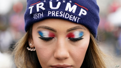 A person attends a rally at Freedom Plaza Jan. 5, 2021, in Washington, in support of President Donald Trump.