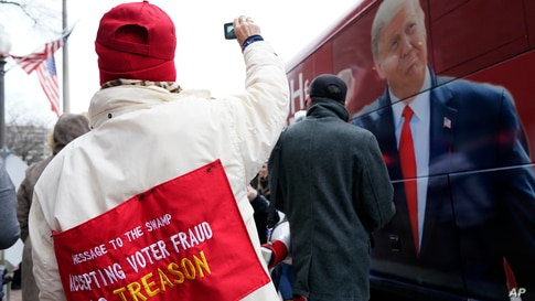 People attend a rally at Freedom Plaza Jan. 5, 2021, in Washington, in support of President Donald Trump.