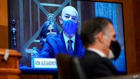 Homeland Security Secretary nominee Alejandro Mayorkas testifies during his confirmation hearing in the Senate Homeland…