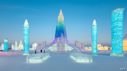 Ice sculptures are seen at the Harbin Ice and Snow Festival in Harbin, in northeastern China's Heilongjiang province.