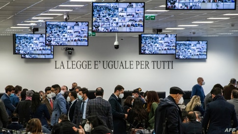 A general view shows a special courtroom prior to the opening of the 'Rinascita-Scott' maxi-trial in which more than 350 alleged members of Calabria's 'Ndrangheta mafia group and their associates go on trial in Lamezia Terme, Calabria, Italy.