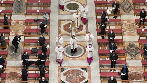 Pope Francis conducts a Mass for the Feast of Epiphany in St. Peter's Basilica at the Vatican. (Credit: Vatican Media)