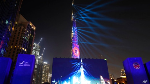 A laser show celebration is put on ahead of a live broadcast of the Hope Probe attempting to enter the Mars orbit as a part of…